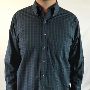 Club Room Slim Fit Blue Plaid Oxford Shirt 16.5""